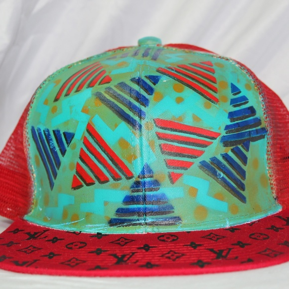 8c10ef6aec7 custom painted hat with louie print